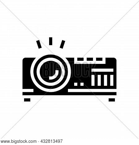 Projector Electronic Device Cinema Glyph Icon Vector. Projector Electronic Device Cinema Sign. Isola