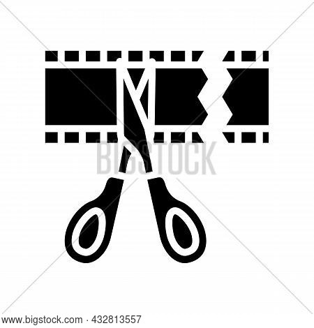 Cropping Video Glyph Icon Vector. Cropping Video Sign. Isolated Contour Symbol Black Illustration