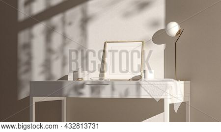 Blank Wood Small Square Frame Mockup Interior Background, Side View, 3d Rendering. Empty Art Pic Cad
