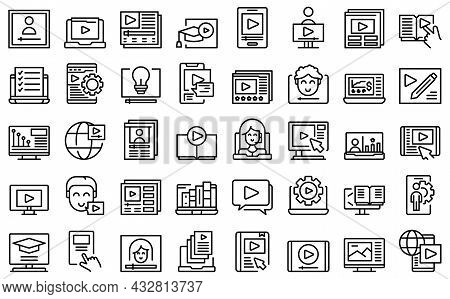 Video Tutorial Icons Set Outline Vector. Online Stream. Animation Tutorial