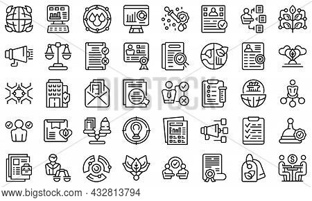 Fair Trade Icons Set Outline Vector. Fair Product. Labor Extension