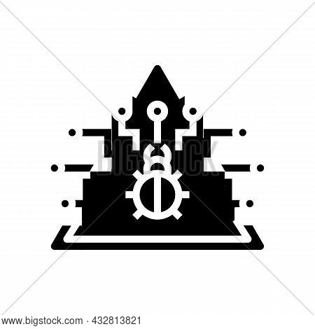 Defense Data Base Glyph Icon Vector. Defense Data Base Sign. Isolated Contour Symbol Black Illustrat