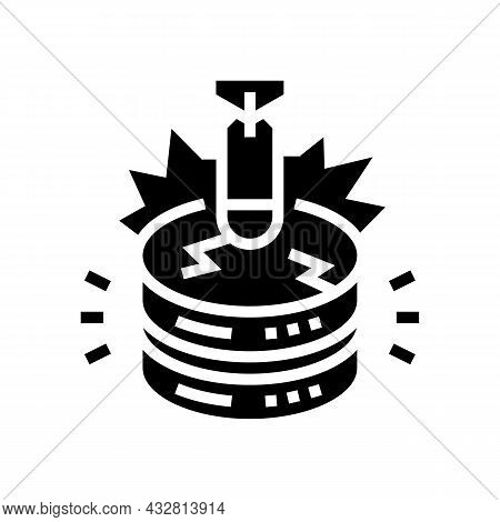 Attack Database Glyph Icon Vector. Attack Database Sign. Isolated Contour Symbol Black Illustration