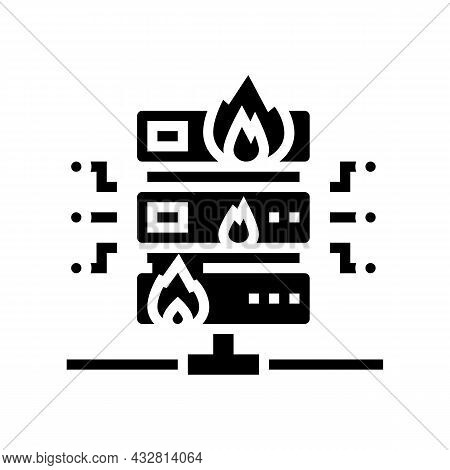Server Fire Security System Glyph Icon Vector. Server Fire Security System Sign. Isolated Contour Sy
