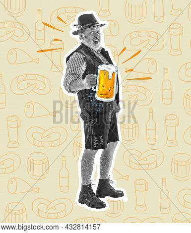 Senior Happy Smiling Man With Beer Dressed In Traditional Austrian Or Bavarian Costume Holding Mug O