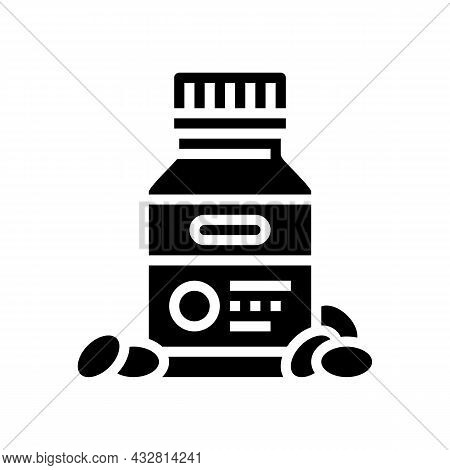 Vitamins For Sportsman Glyph Icon Vector. Vitamins For Sportsman Sign. Isolated Contour Symbol Black