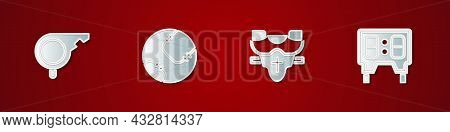 Set Whistle, Baseball Ball, Player Chest Protector And Mechanical Scoreboard Icon. Vector