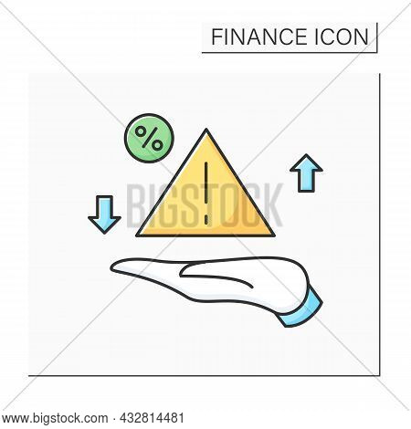 Risk Management Color Icon. Danger And Percent Signs Handed. Concept Of Financial Risk Planing, Stoc