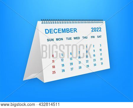 December 2022 Calendar Leaf. Calendar 2022 In Flat Style. A5 Size. Vector Illustration.