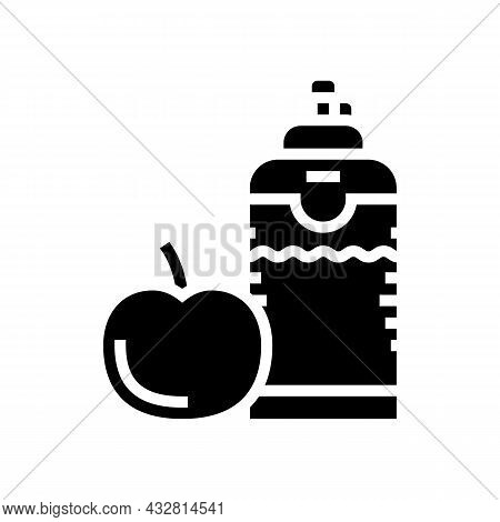 Healthy Food And Drink For Athlete Glyph Icon Vector. Healthy Food And Drink For Athlete Sign. Isola