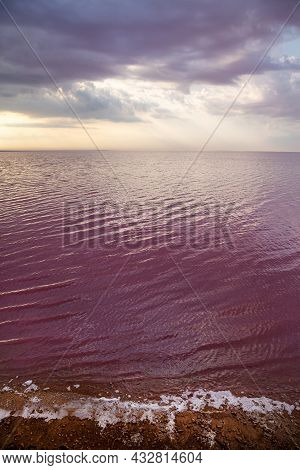 Pink Salt Lake Sivash. A Place In Ukraine For Treatment And Walks.