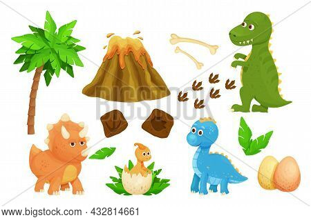 Set Cute Baby Dinosaurs With Dino Egg, Footprint, Jurassic Leaves, Volcano And Bones In Cartoon Styl