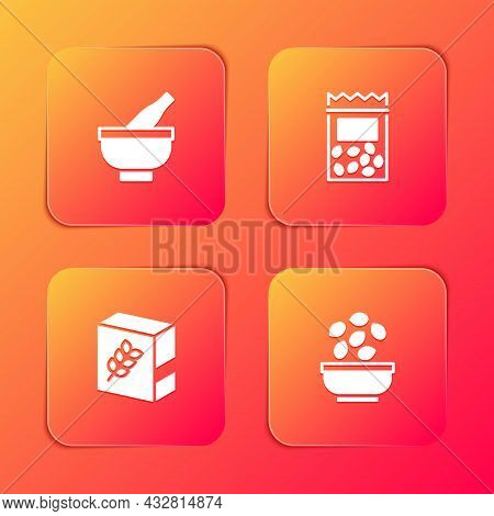 Set Mortar And Pestle, Pack Full Of Seeds Of Plant, Flour Pack And Seeds In Bowl Icon. Vector