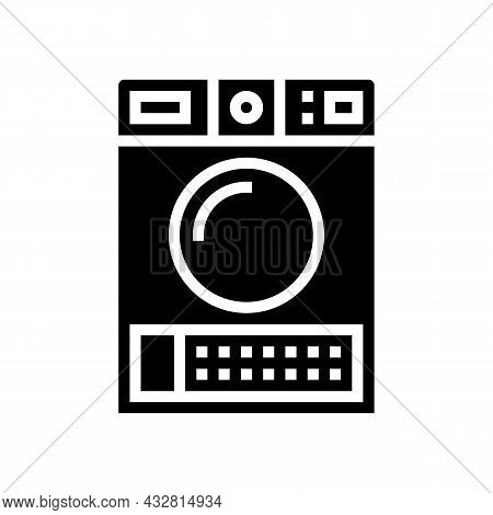 Dry Electronic Machine Glyph Icon Vector. Dry Electronic Machine Sign. Isolated Contour Symbol Black