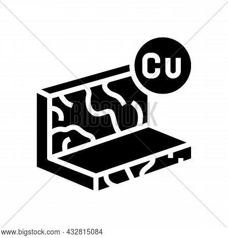 Copper Metal Profile Glyph Icon Vector. Copper Metal Profile Sign. Isolated Contour Symbol Black Ill