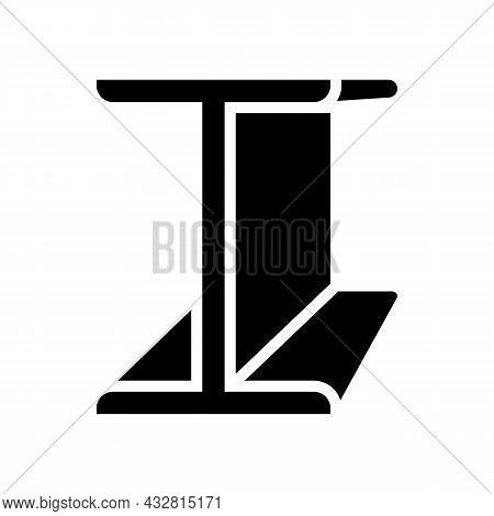 Beams Metal Profile Glyph Icon Vector. Beams Metal Profile Sign. Isolated Contour Symbol Black Illus