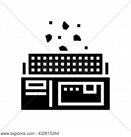 Manufacturing Plant Glyph Icon Vector. Manufacturing Plant Sign. Isolated Contour Symbol Black Illus