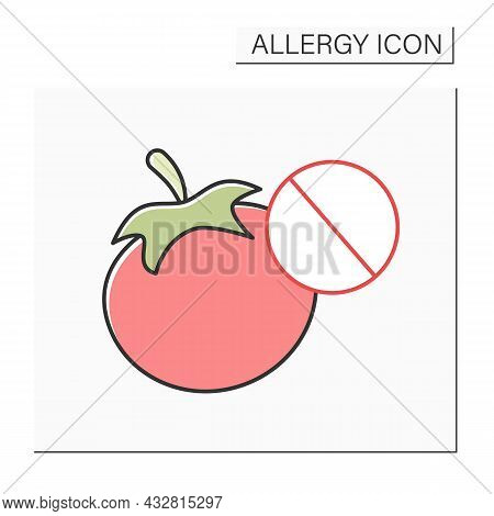 Allergy To Food Color Icon. Skin Allergy To Tomato Plant.healthcare Concept.isolated Vector Illustra