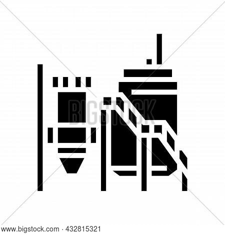 Mineral Processing Plant Glyph Icon Vector. Mineral Processing Plant Sign. Isolated Contour Symbol B