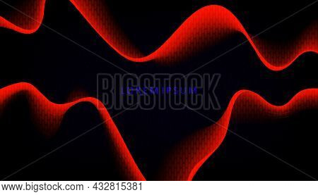 Abstract Black Background, Minimal Red Smooth Wave Patterns With Gradient.