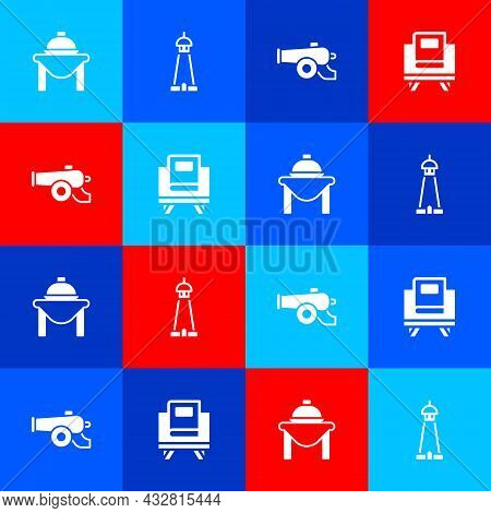 Set Table Food, Mosque Tower Or Minaret, Ramadan Cannon And Holy Book Of Koran Icon. Vector