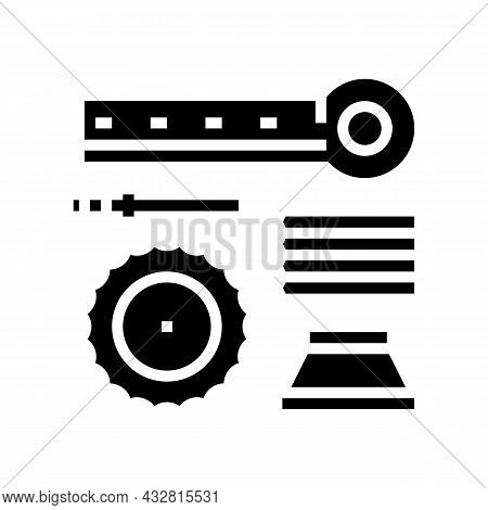 Materials Handling And Crusher Spare Parts Glyph Icon Vector. Materials Handling And Crusher Spare P