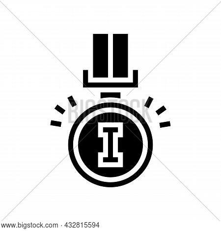 Champion Award Glyph Icon Vector. Champion Award Sign. Isolated Contour Symbol Black Illustration