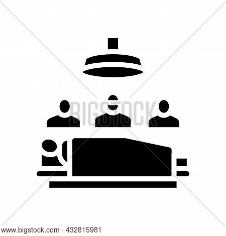 Surgery Doctor And Assistant Team Glyph Icon Vector. Surgery Doctor And Assistant Team Sign. Isolate