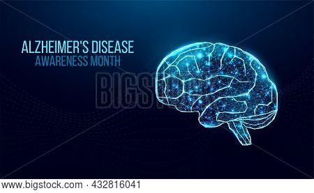 Alzheimer's Disease Awareness Month Concept. Banner Template With Purple Ribbon And Text. Vector Ill