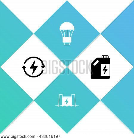 Set Recharging, Hydroelectric Dam, Led Light Bulb And Eco Fuel Canister Icon. Vector