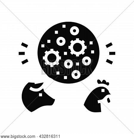Flu Domestic Animal Glyph Icon Vector. Flu Domestic Animal Sign. Isolated Contour Symbol Black Illus