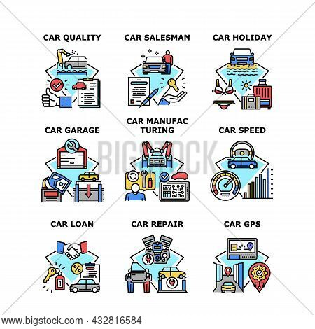Car Manufacturing Set Icons Vector Illustrations. Quality Car Manufacturing Gps Device Technology An