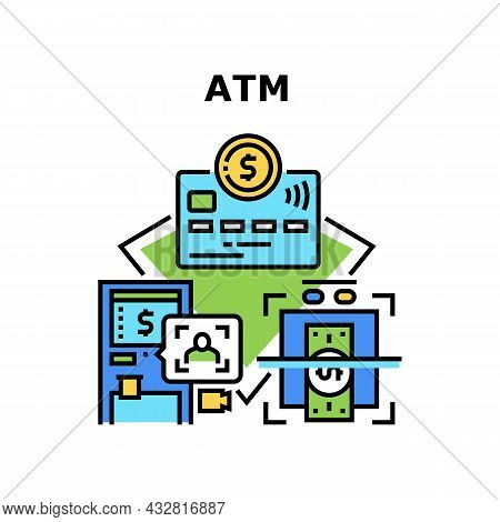 Atm Banking Machine Vector Icon Concept. Atm Banking Machine For Identification Bank Client And With