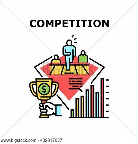 Competition Vector Icon Concept. Managers Competition In Company Office For Increase Profit And Inco