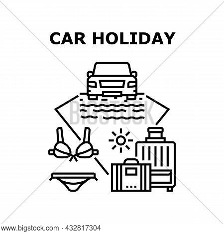 Car Holiday Vector Icon Concept. Car Holiday Trip And Adventure With Baggage Luggage, Automobile Sta