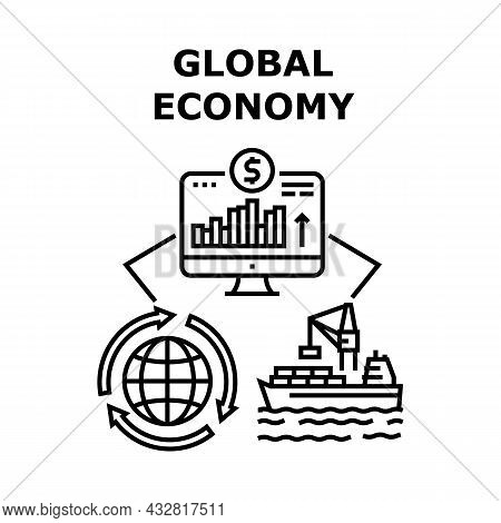 Global Economy Vector Icon Concept. Global Economy And International Business. Shipment And Trade Ma