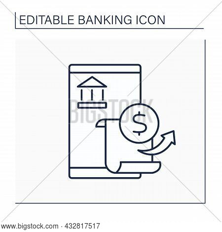 Bank Statement Line Icon. Printed Record Of Balance In Bank Account.extract About Amounts.banking Co