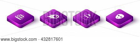 Set Isometric Space Capsule, Comet Falling Down Fast, Ufo Flying Spaceship And Alien Icon. Vector