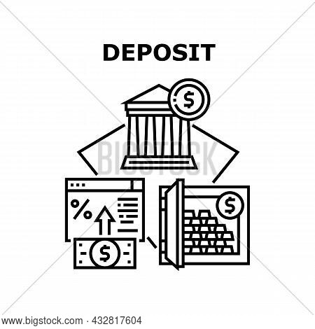 Deposit Bank Vector Icon Concept. Money Deposit Bank And Storaging Gold Bar In Safe. Online Banking