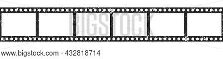 Grunge Cinema Filmstrip Roll On White Background. Blank Old Negative Film. 35mm Film Slide Frame. Re