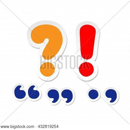 Large Question Mark, Exclamation Mark. Cartoon Quotation Marks, Period And Comma.
