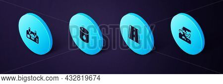 Set Isometric Plane Crash, Airport Runway, Barrel Oil And Aircraft Steering Helm Icon. Vector