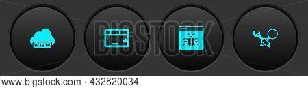 Set Web Development, Keyboard, System Bug And Debugging Icon. Vector
