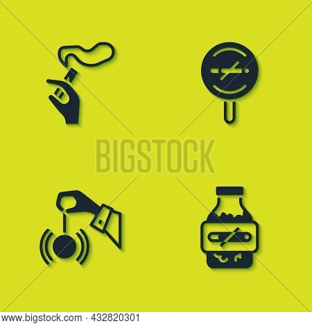 Set Hand With Smoking Cigarette, Nicotine Gum Blister Pack, Hypnosis And No Icon. Vector