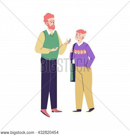 Father Talking Friendly With His Teenage Son Flat Vector Illustration Isolated.