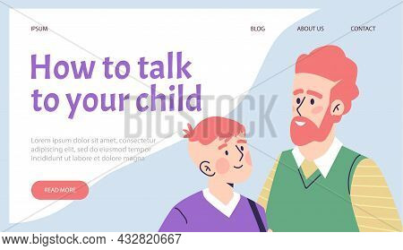 Family Advisor Or Counselor Website With Father And Child Vector Illustration.