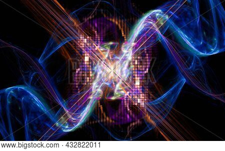 Abstract Illustration Background Image Desktop Wallpaper Energy Waves Intertwining And Spinning In A