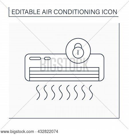 Lock Mode Line Icon. Limited Actions With Conditioner. Lock Machine Only On One Function.air Conditi