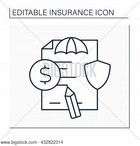 Claim Line Icon. Formal Request. Document About Payment Based On Insurance Policy. Documentation.ins