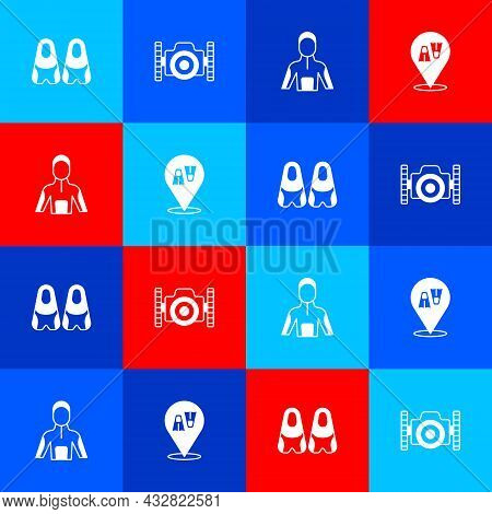 Set Flippers For Swimming, Photo Camera Diver, Wetsuit Scuba Diving And Icon. Vector